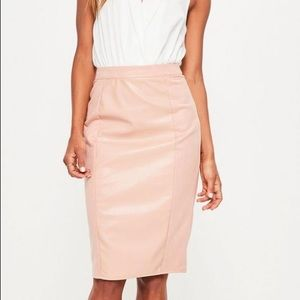 Missguided Faux Leather&Suede Paneled Skirt, Sz 0